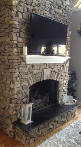 Eclectic Fireplaces Fireplace Tv, I really like the floating shelf!