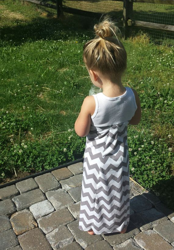 Chevron maxi dress infant toddler gray long by TheKnotProject, $20.00