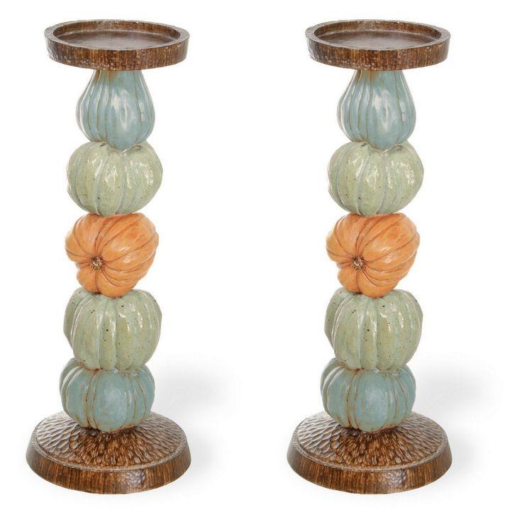 Set of 2 Pumpkin Candle Holders