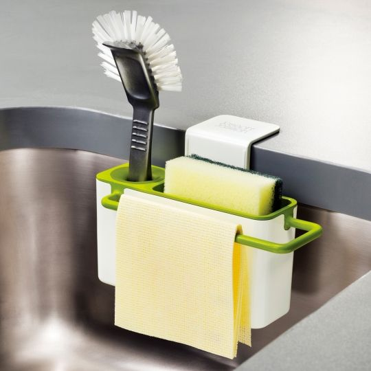 Great idea for motorhome sink - perfect for where space around the sink is limited, the whole unit can be dismantled for easy cleaning. This stylish design provides organised storage for a variety of washing-up equipment and, because it sits neatly inside the sink, any excess water or soap drains conveniently away. The design incorporates a rubber dish-brush grip, a sponge-draining compartment and a dishcloth hanging-rail.