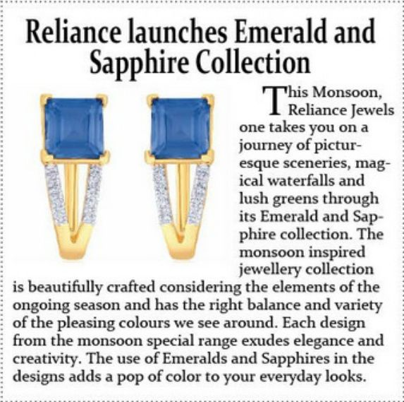 As seen in Glittering India Reliance Jewels launches Emerald & Sapphire Collection Reliance Jewels Be The Moment www.reliancejewels.com #RelianceJewels #Ad #Magzine #Emerald #Sapphire #Jewellery #GlitteringIndia