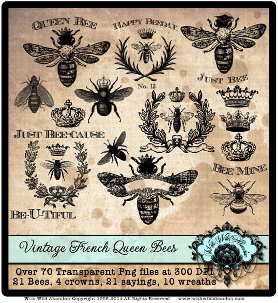 Bee Clipart, Queen Bee Clipart, Vintage French Wreath Clipart, Crown  Clipart.  Bee Sayings.  Digital Stamp or Overlays Instant Download.
