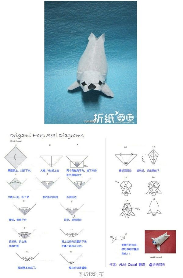 Origami Harp Seal Folding Instructions