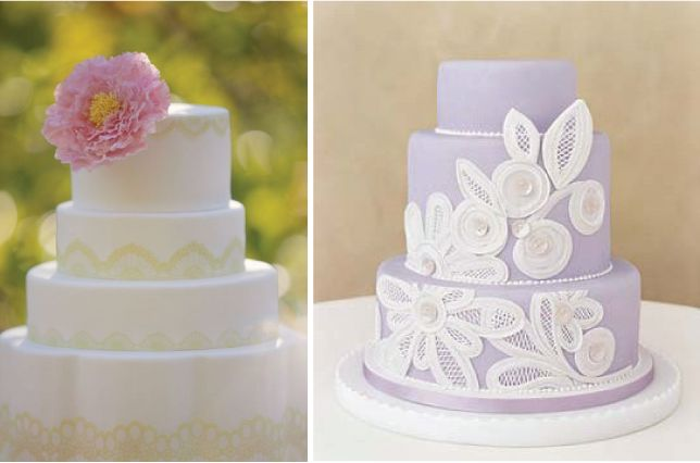 I like the lace cake on the left, with a pink rose on top instead.