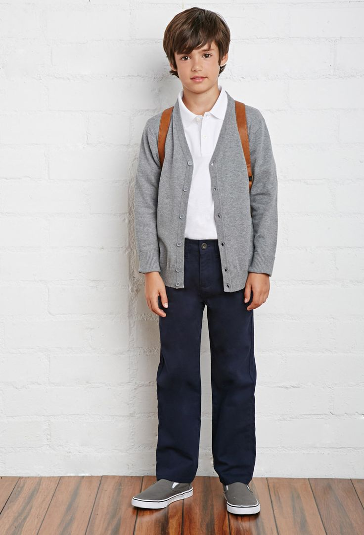 Boys School Uniform Heathered Cardigan (Kids)