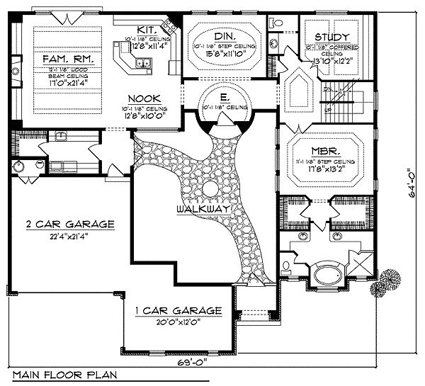 Plan 89308ah Mediterranean Beauty With Private Walkway In 2020 House Layout Plans Courtyard House Plans U Shaped House Plans