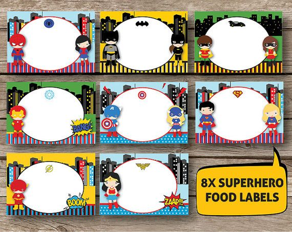 SUPERHERO Supergirl  Labels - Set of 8 - Instant Download - Printable Birthday Party Treat Tent Labels Place Cards Spiderman Batman Superman