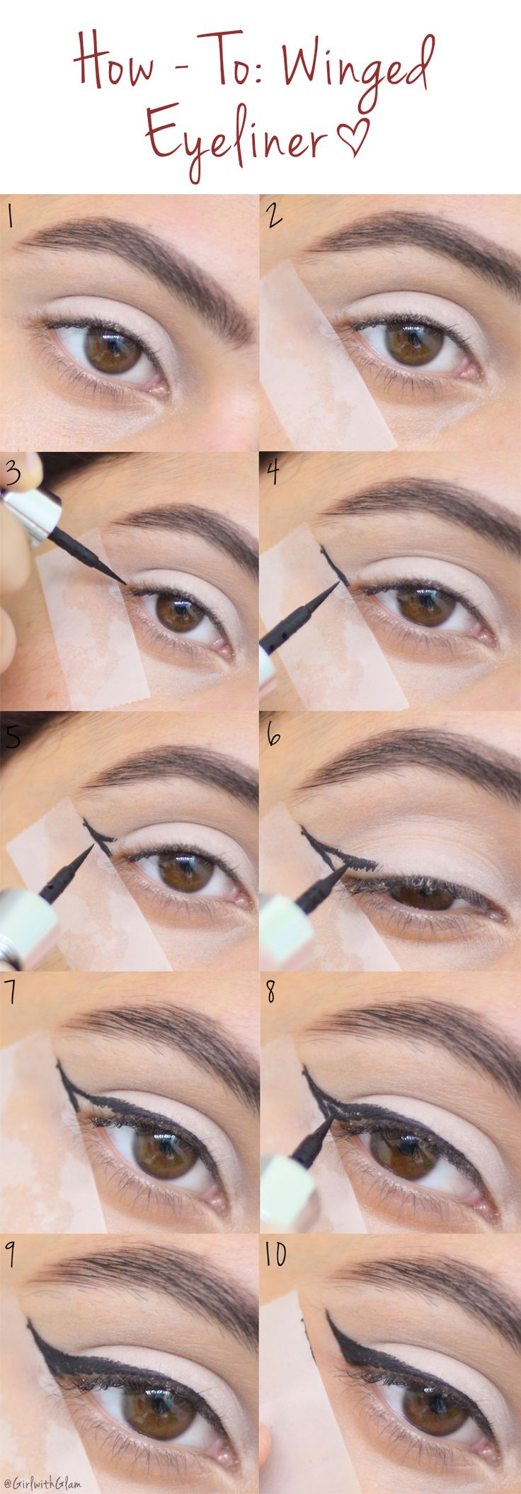 How To: Winged Eyeliner [Tape Method]  #eyeliner #howto #tutorial #makeuptutorial #easyeyeliner #wingedliner #makeup #cosmetics