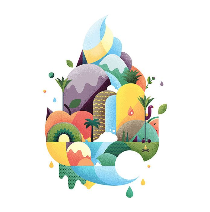 Illustrations created by Brett King for the brand identity.