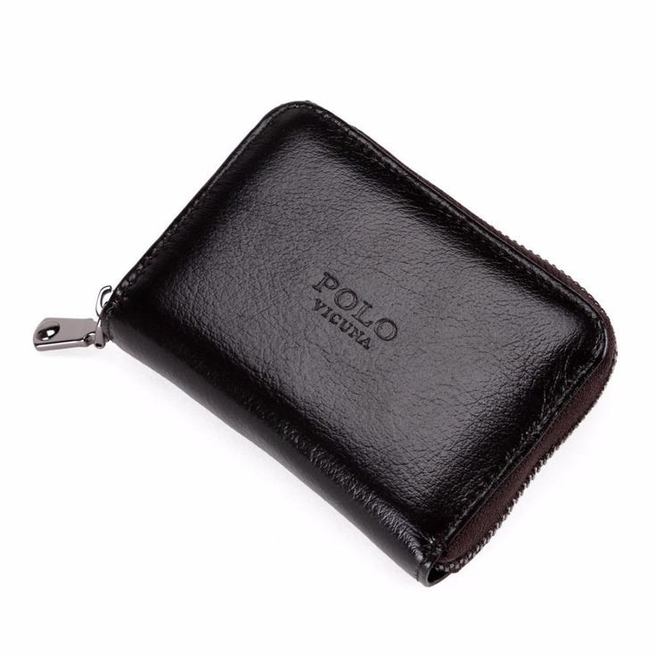 Waxy Oil Genuine Leather Card Holder Zipper Credit Card Holder Wallet