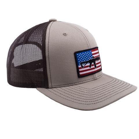 2c48b306 AR Flag Patch Trucker Hat - Tan w/Brown Mesh   Christmas list 2017   Flag  patches, Hats, Tan hat