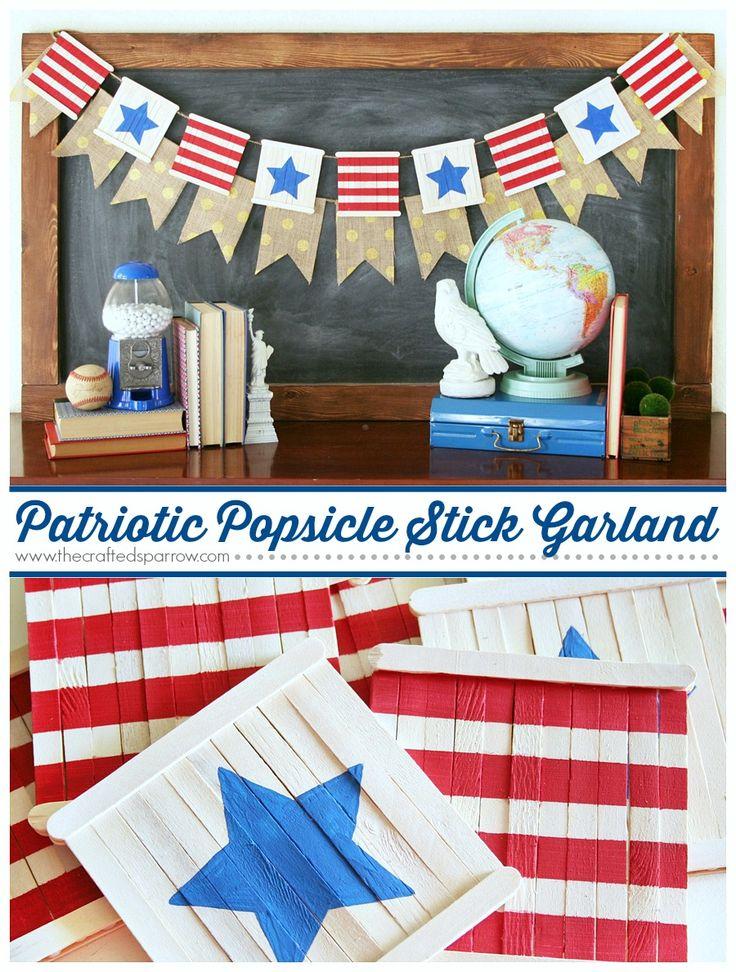 Patriotic Popsicle Stick Garland - thecraftedsparrow.com