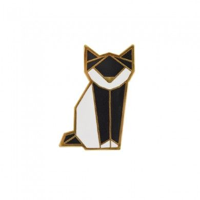 Broche origami Chat noir