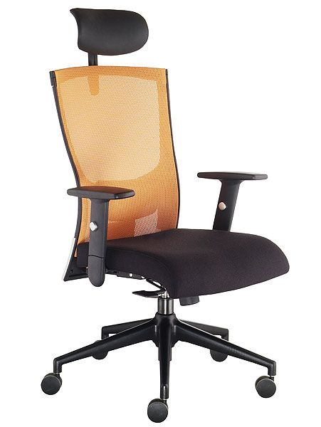Hanna High Back Computer Chair In Mesh Orange Mesh Back/Black Fabric  Seat/Black Frame