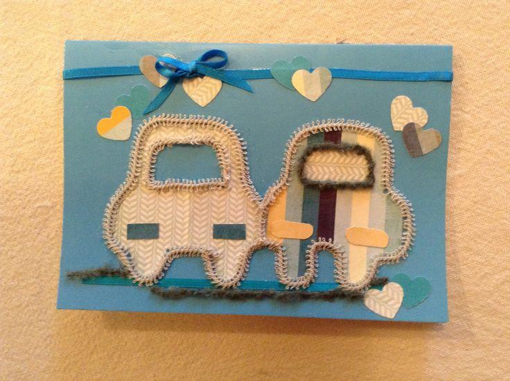 Wedding greetings - two men or two women... Cute cars made of art paper, with ribbon trim Bronzart on www.felt.co.nz