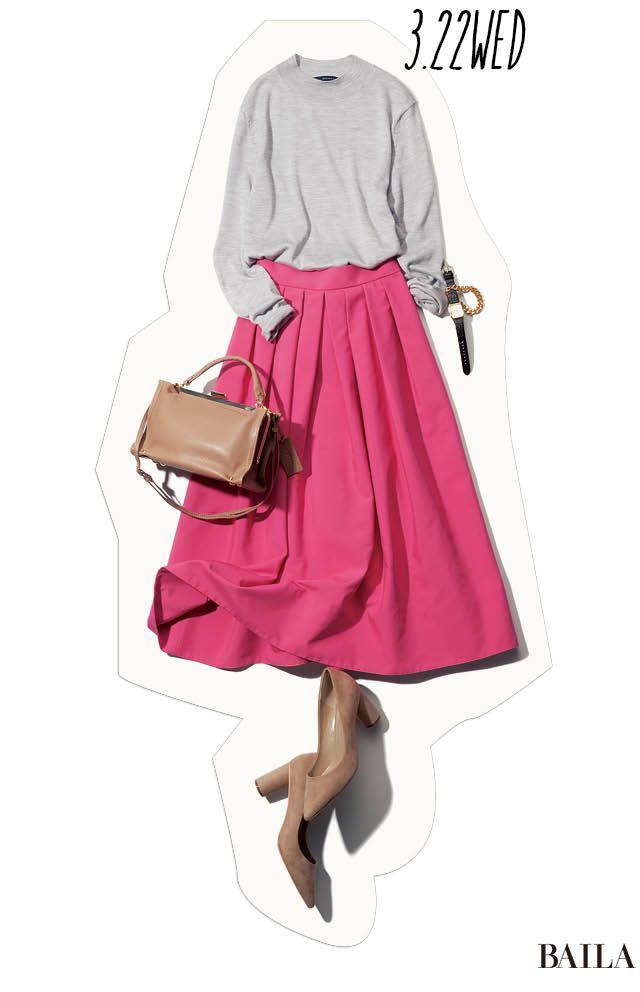 ピンクスカートをシックに。春のトレンドカラーを大人っぽくこなす水曜日♡-@BAILA