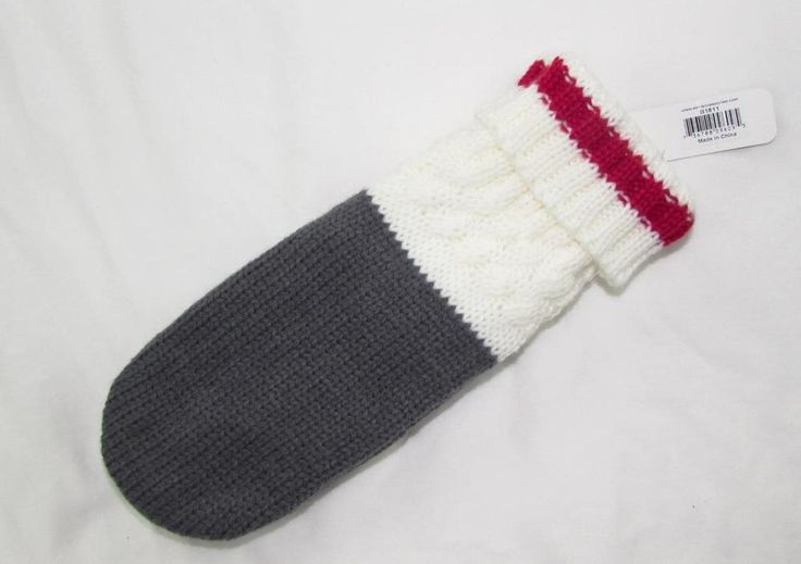 Women Knit Winter Lined Mittens White Red Gray One Size Fits Most NEW NWT #Simi #Mittens