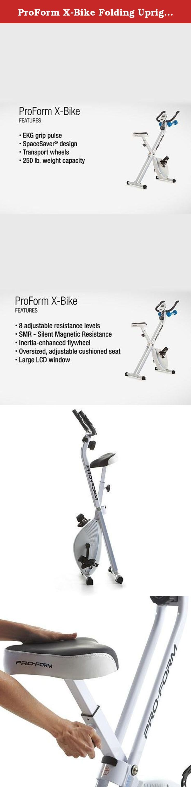 """ProForm X-Bike Folding Upright Bike with 2 lb. Weight Set. Been searching for your personal fitness solution? """"X"""" marks the spot with this compact upright bike that turns any space into your own workout area and folds away for easy storage. Adjustable resistance and hand weights help you maximize the exercise benefits while comfort-minded features make looking good a real pleasure. Guess finding your inner sexy wasn't so hard, after all."""