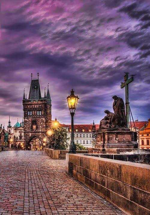 In Purple Dusk Charles Bridge, Prague Czech Republic