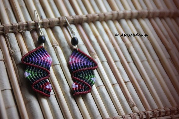 Dangle FIBER earrings RED RAINBOW, micro macrame earrings with silver hooks & natural seeds