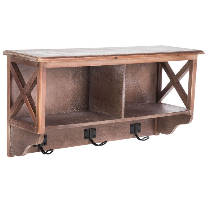 Get Brown Cubby Wall Shelf With Hooks Online Or Find Other Shelves Products From Hobbylobby Com Wall Shelf With Hooks Wall Shelves Shelves