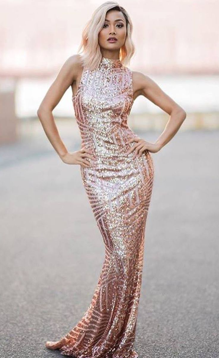 $59.99 Blush Sequins Keyhole Back Party Gown