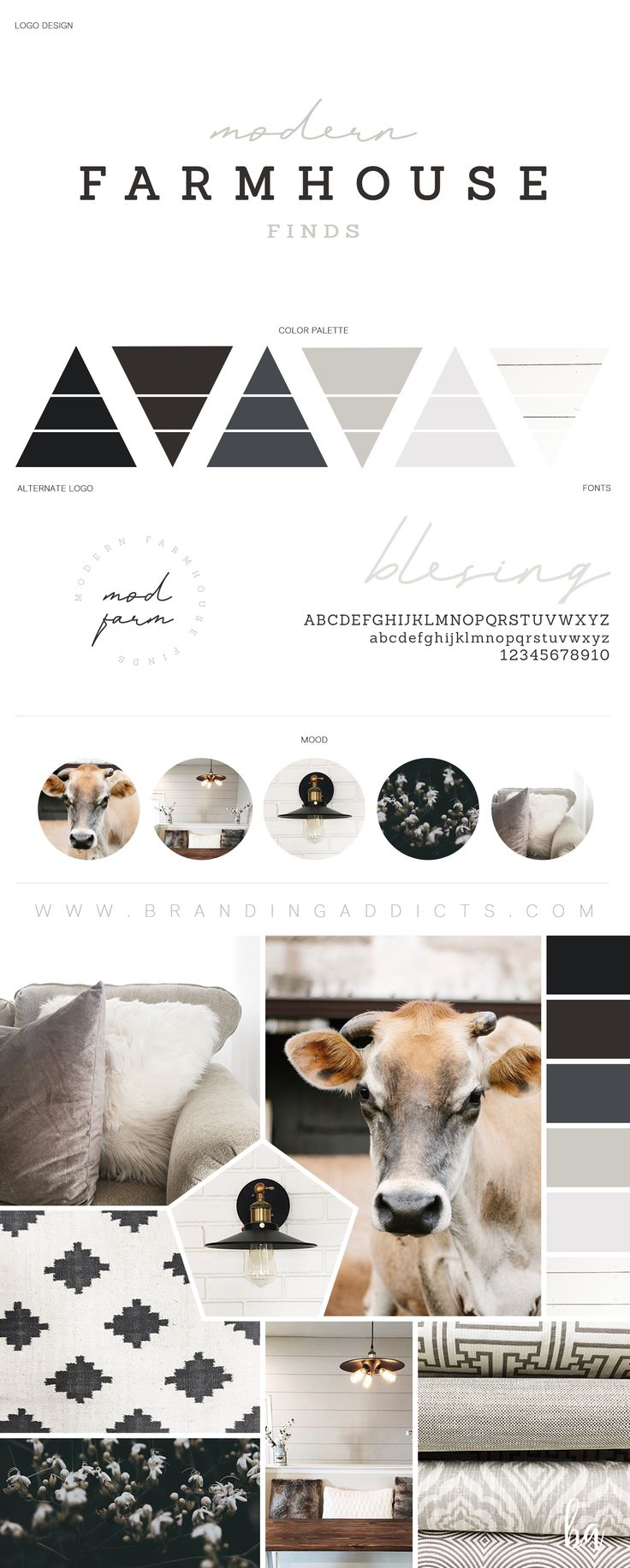 Fresh from the Design Studio. Modern Farmhouse style with a touch of Cozy Chic! Shiplap, neutrals, farm house feel with a brown, grey, and blue hue mixture. Softened with a light script, this brand is the perfect balance between modern and rustic. Follow Modern Farmhouse Finds on Instagram and Facebook for decor inspiration. Professional Business Branding by Designer Laine Napoli. Web Design, Logo, Mood Board, Brand Boards, and more.