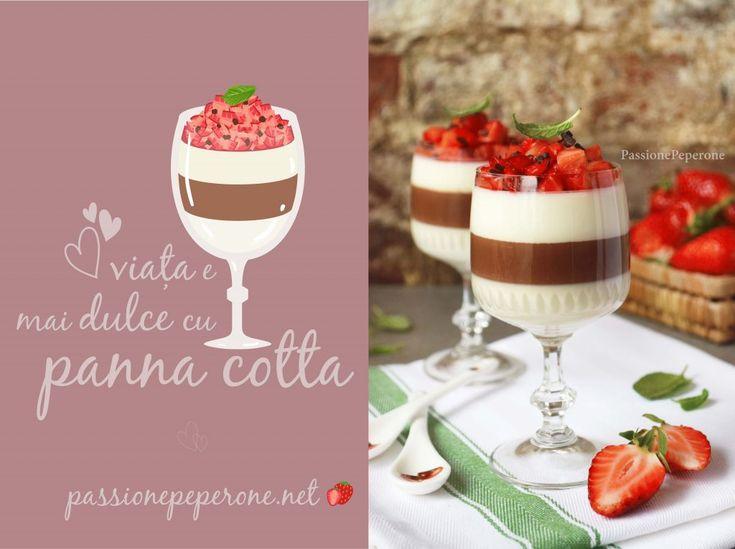Panna cotta cu gust de vanilie și ciocolată cu căpșuni și mentă