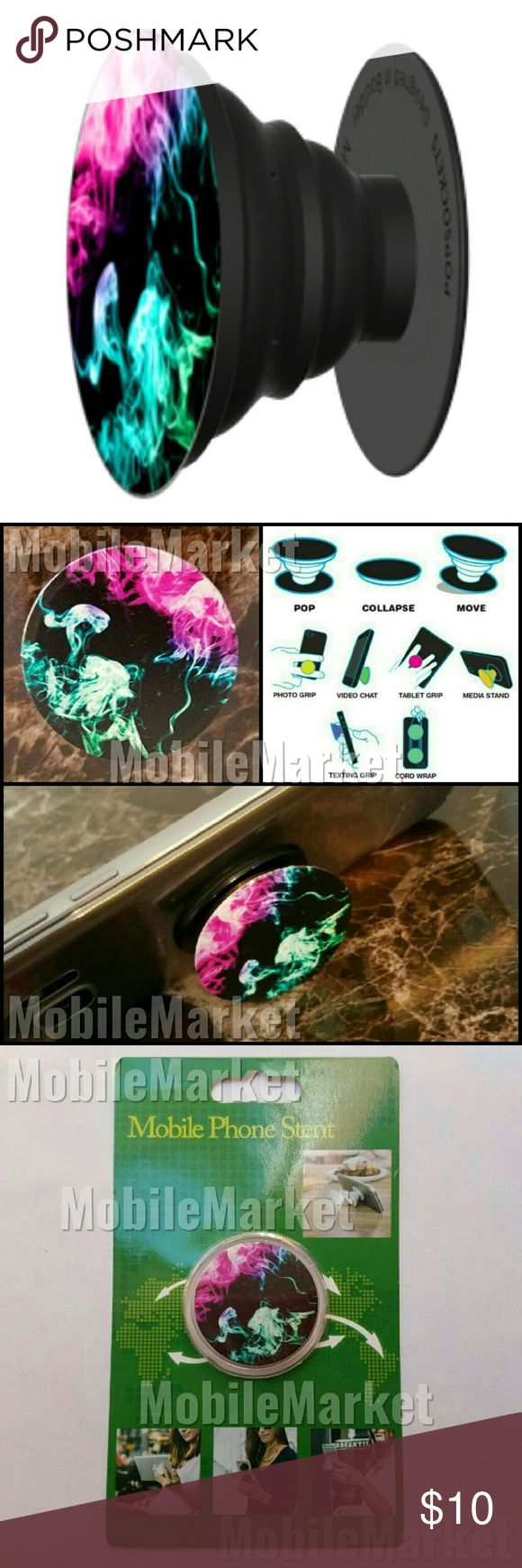 Mobile phone grip/stand color smoke *this is an individual listing for 1 phone stand, color is according to first picture*  Pop, tilt, wrap, grip, collapse, repeat! Mobile phone stent like a pop socket (popsocket). Have a secure grip while calling, taking selfies, and texting. Use as a phone stand, portrait and landscape mode. and even to wrap your headphones around and prevent tangles and knots!! Retail packaging makes it the perfect gift! Accessories