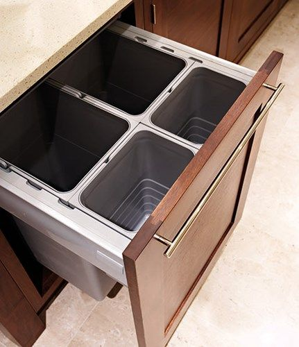Great integrated kitchen bin with compartments for different waste i.e. recycling (paper and plastic), composting, domestic waste | Tom Howley | Discover more at www.mycasainteriors.com