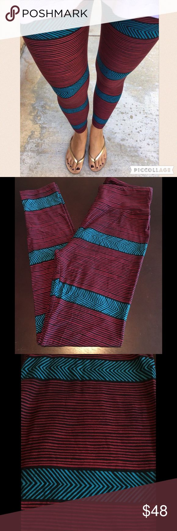 LULAROE OS Maroon Teal Black Stripe leggings NWOT Brand new without tag (Came without tag from Consultant). SF/PF home.  New Colorway of an older unicorn print.  The yellow/black version is a major unicorn and super hard to find.  These are destined to become a unicorn also.  I SHIP FAST.  CHECK MY REVIEWS :)  **Less on Ⓜ️erc**  Tags: Red, blue, One Size, striped, Chevron LuLaRoe Pants Leggings