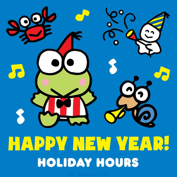 Hello, friends! Just a reminder, the Sanrio Company Store will be closed on Monday, January 1st and Tuesday, January 2nd.  #HappyNewYear #hellokitty #sanrio#biggestfan #novelty #toys #clothing