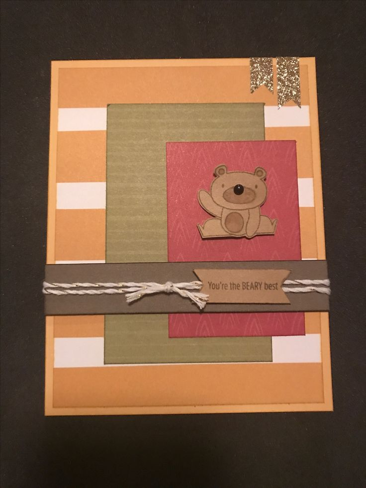 "How ""beary"" cute is this card using Punny Pals & this weeks Color Dare colors? White & gold twine, gold shimmer trim & a little black dot round out the embellishments."