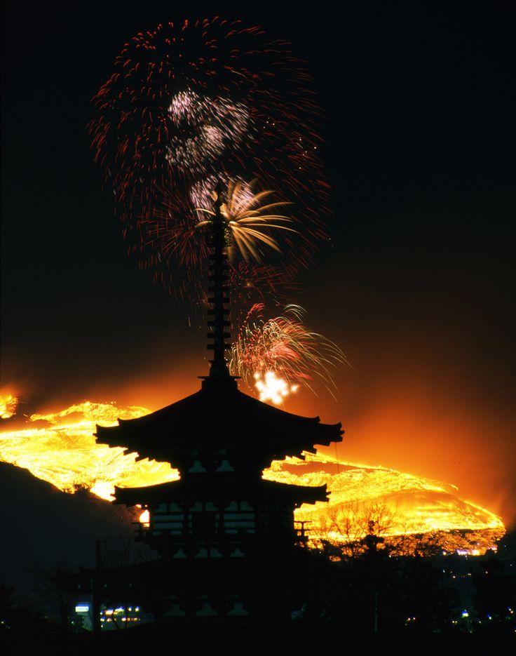 奈良市 薬師寺 東塔 若草山山焼き