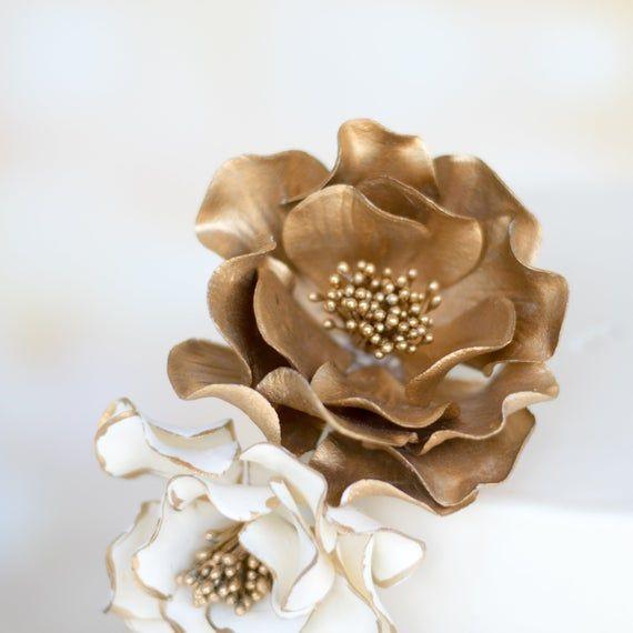 Gold Open Rose Sugar Flower For Wedding Cake Toppers Ready To Etsy Sugar Flowers Wedding Cake Toppers Wedding Cakes With Flowers