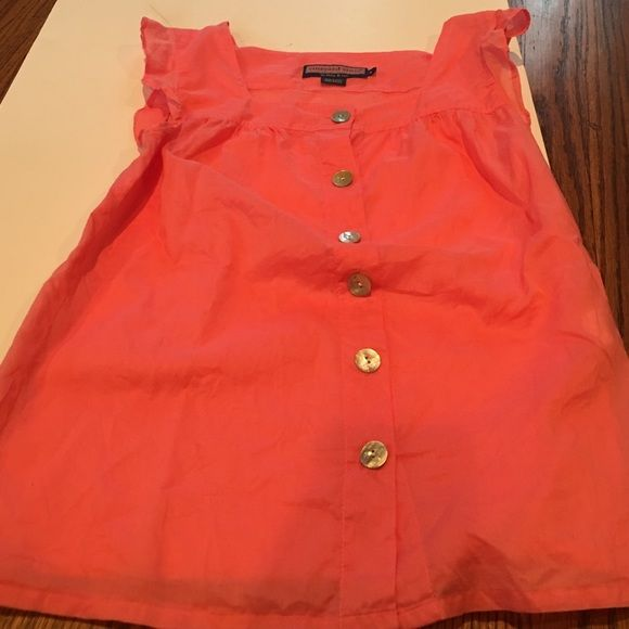 Size 4 Vineyard vines coral cotton blouse Vineyard vines size 4 coral/salmon  blouse in 100% cotton. In used condition but cannot locate any obvious flaws or stains. No trades. Great for warm weather! Vineyard Vines Tops Blouses