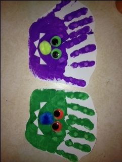 Monster Handprints. Use with Little Monsters activities.