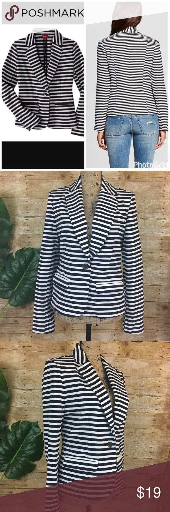 "Merona Blue and White Striped Jacket Merona Blue and White Striped Jacket     Chest: 19""  (armpit to armpit - flat lay) Length: 22.5""  (shoulder to hem) Sleeve Length: 24.5"" Merona Jackets & Coats"