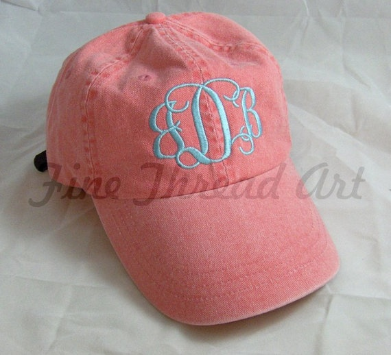 LADIES Monogram Baseball Cap Hat  LEATHER strap by finethreadart, $18.50
