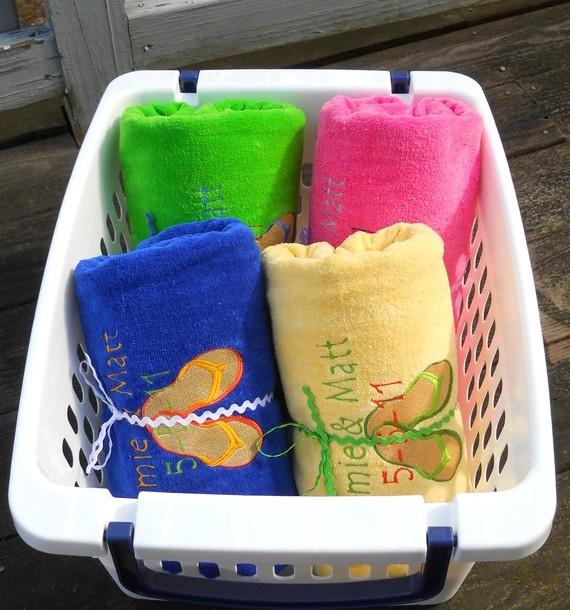 15 Custom Beach Towel Wedding Favors by aTwinkleStar on Etsy, $405.00