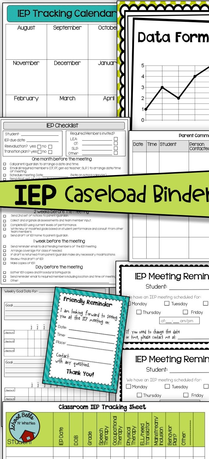 Organize and manage your IEP case load with this IEP binder. Includes check lists, data forms, assessments, token boards, parent communication logs, IEP reminder notes, and more! $
