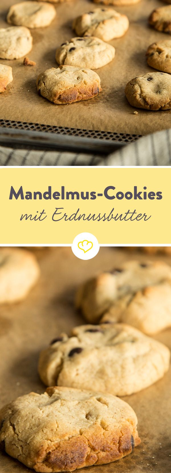 Cookies wie im Coffeeshop - nur noch besser. Mit Erdnussbutter und Mandelmus verfeinert. Und von Schokolade getoppt. Mandelmus-Cookie-Liebe hoch drei quasi.