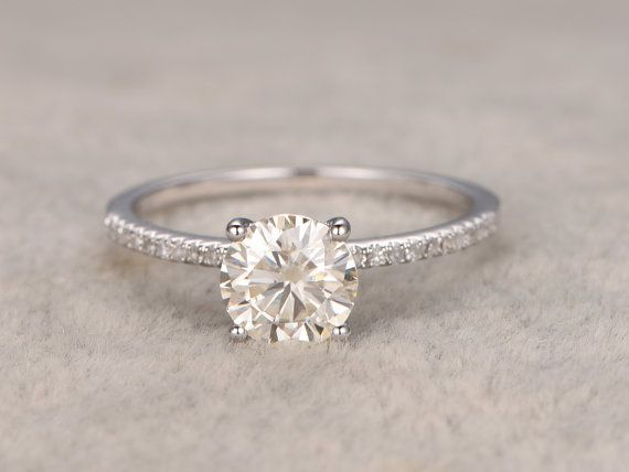 1.3ct brilliant Moissanite Engagement ring White by popRing