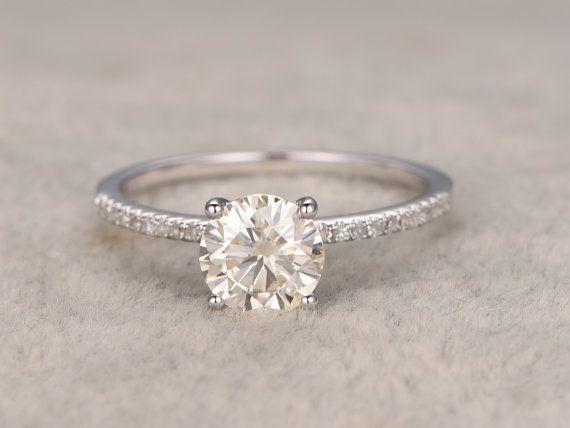 13 ct brillanten Moissanite Verlobungsring Weißgold von popRing