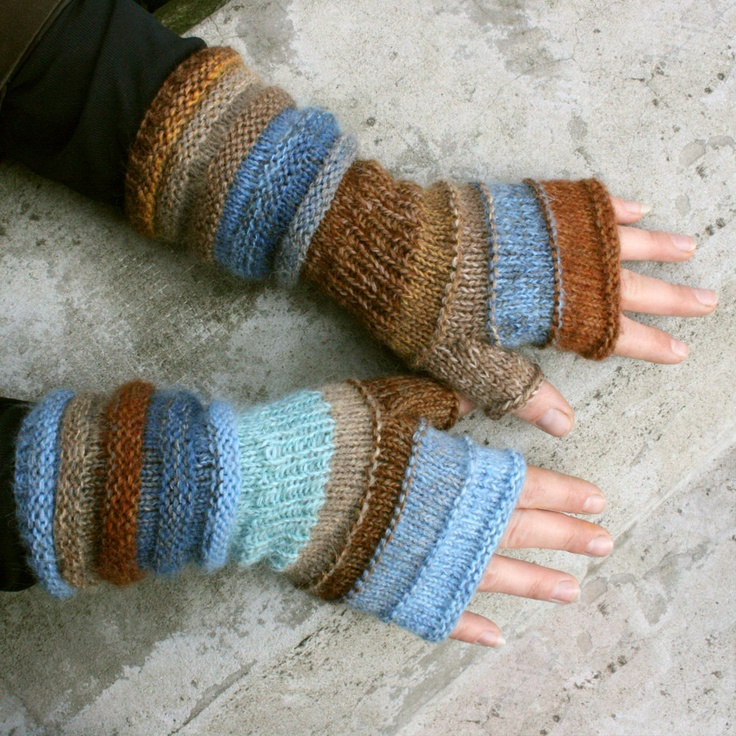 Sulphur Springs Unmatched Striped Hand Knit Fingerless Gloves with upcycled…