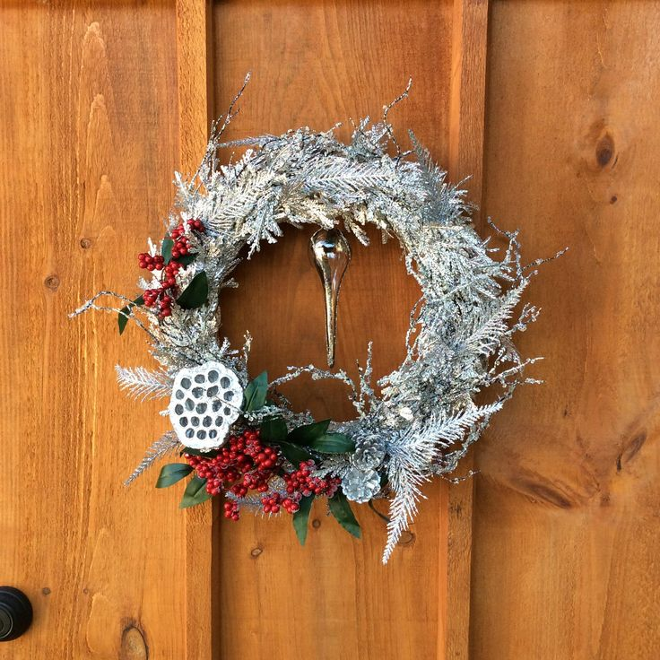 Silver Wreath, Christmas Wreath, Winter Wreath, Front Door Decor, Sparkling Wreath, Door Decor, Wall Decor, Classic Wreath, Made In Canada by DearloveDecorDesign on Etsy