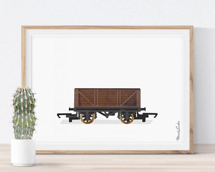 Train Wagon Print, Train Wall Art, Train Printable, Kids Play Room Decor, Nursery Print, Train Wall Decor, Transportation, Instant Download #wagon #coal #freight #train #locomotive #railway #railroad #print #printable #big #boy #bedroom #boys #ideas #decor #wall #art #toddler #DIY #for #kids #children #etsy #twin #green #gold #watercolor #playrooms #nursery #themes #transportation #vehicle #poster #teenager #gift #bithday #vintage By MORILAND Wall Art