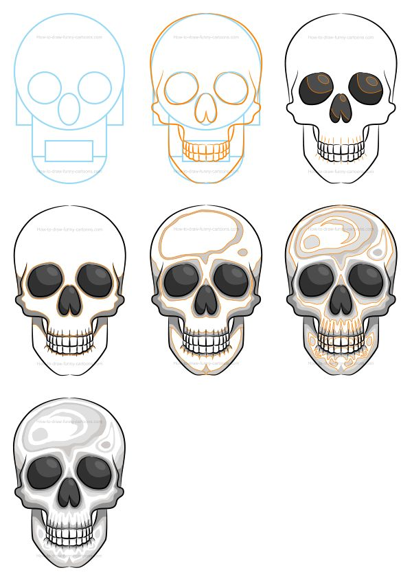 Learn how to draw a simple skull filled with solid shapes and colors. :) #cartoonskull #howtodraw #drawinglessons #skulls #skull