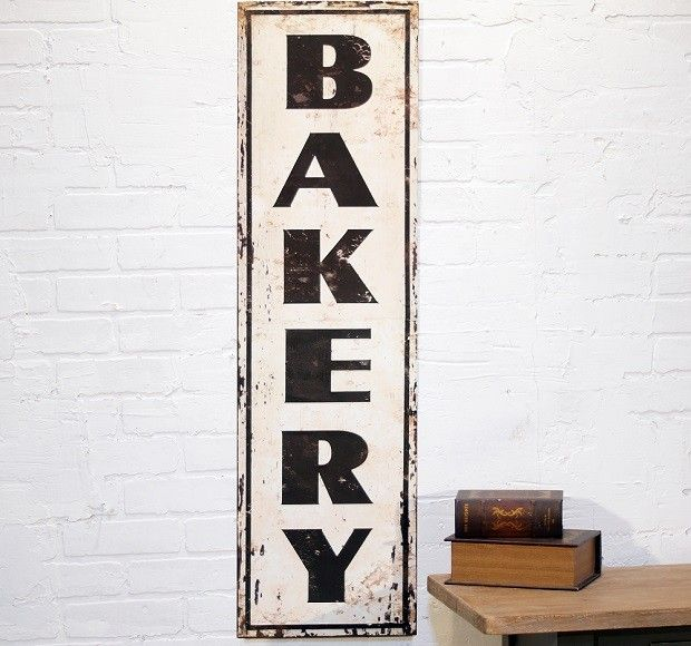 "Large Distressed Metal ""Bakery"" Sign"