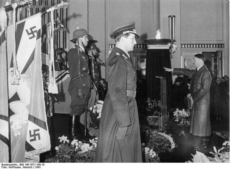 Ernst Udet funeral. Adolf Galland.Hitler saluting the coffin